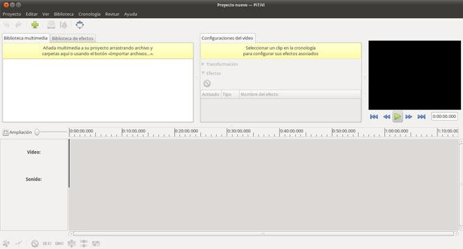Pantalla principal de PiTiVi en Ubuntu.