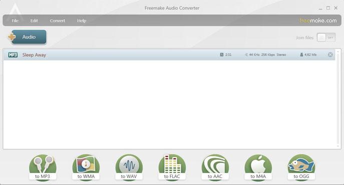 Freemake Audio Converter recién abierto.