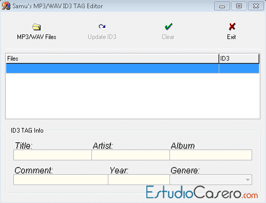 Interfaz principal de Mp3/Wav TAG Editor.